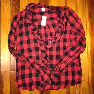 Flannel Button Down with Ruffle V Neck Detaik